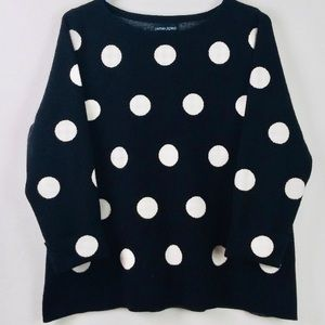 Cynthia Rowley black and white polka dot sweater